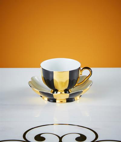 Hoffmann Coffee Cup And Saucer in Black And Gold