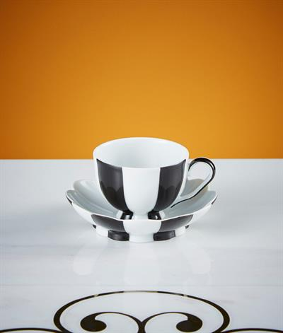 Hoffmann Coffee Cup & Saucer in Black & White