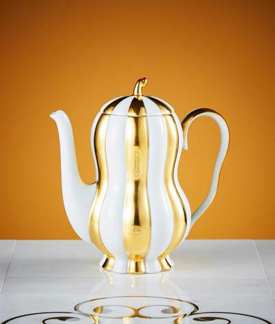 Hoffmann Coffee Pot in White & Gold